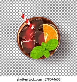 Glass of cocktail isolated on transparent backdrop. Vector illustration with realistic fresh summer drink.