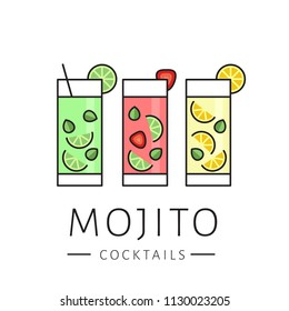 Glass of cocktail mojito on white background. Сlassic mojito, strawberry mojito, lemonade. Flat design style, vector illustration.