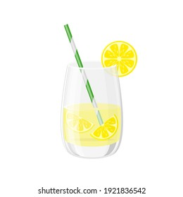 Glass  and cocktail tube  with lemonade or ice tea lemon slice and mint leaves vector illustration in a cartoon flat style isolated on white background.