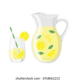 Glass with cocktail tube  and   pitcher with lemonade or ice tea lemon slice and mint leaves vector illustration in a cartoon flat style isolated on white background.