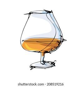 Glass of cognac vector