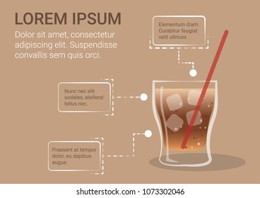 A glass of cola drink with ice vector illustration. Cola soda drink infographic.
