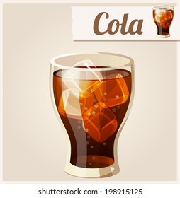 Glass of cola with ice. Detailed Vector Icon. Series of food and drink and ingredients for cooking.