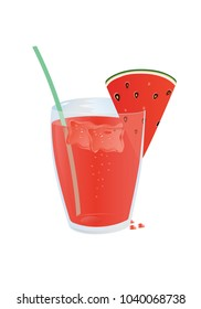 A glass of cold juice with a slice of watermelon