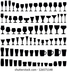 Glass collection - vector silhouette