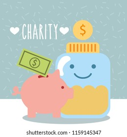 glass container coins piggy money donate charity