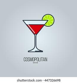 glass of cosmopolitan cocktail vector icon