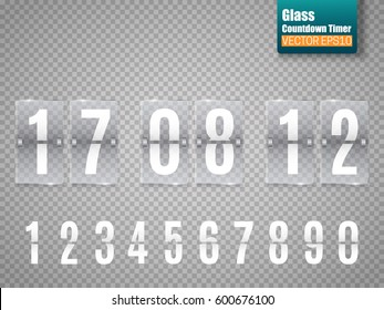 Glass Countdown timer isolated on transparent background. Clock counter. Vector template