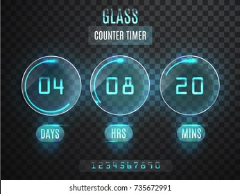 Glass Counter Timer. Transparent vector countdown timer isolated on transparent background. Neon glow on a dark background. Countdown website vector template digital clock timer background