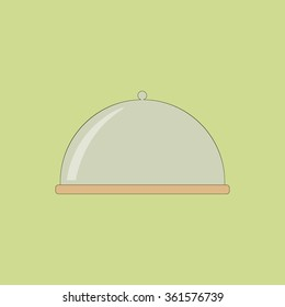 Glass Covered Cake Dish on the green background. Vector illustration