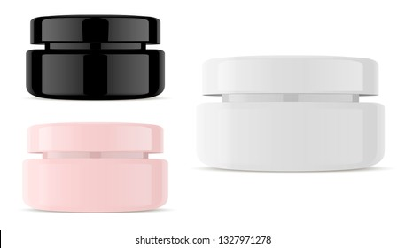 Glass Cream Cosmetic Jar. Isolated Glossy Plastic Container Pack in Black White and Rose. Clean Medical Pot for Skin Care Product with Cap. 3d Realistic Design Template.