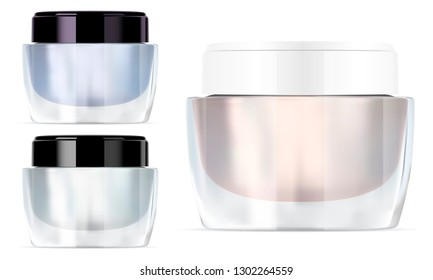 Glass Cream Jar. Beauty Cosmetics Container. Luxury Product Transparent Packaging Blank with White and Black Glossy Lid. Clear Pot for Medical Powder.