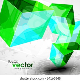 Glass cube composition. Vector abstract background