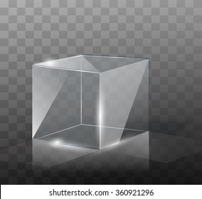 The glass cube on a transparent background with highlights.