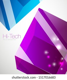 Glass cube technology background, hi-tech futuristic abstract techno template