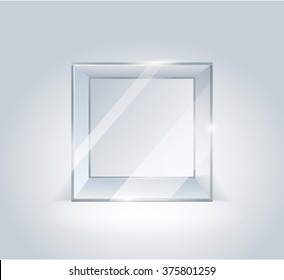 Glass cube. Transparent boxes. Showcase for the project presentation. Glass. Cube isolated on white background. Transparent cube. Vector 3d illustration.