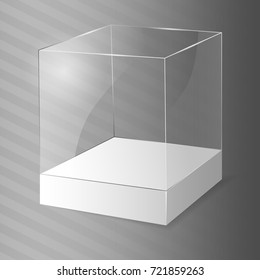 Glass Cube. Vector illustration.