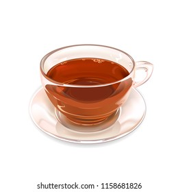 Glass Cup of black tea on white background. Vector illustration.