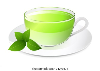 Glass Cup of green tea with leafs on a plate. Traditional Chinese and Japanese beverage (sencha). Isolated vector illustration on white background. EPS 10