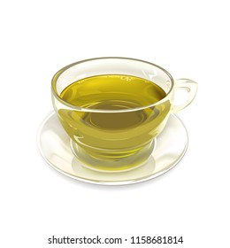 Glass Cup of green tea on white background. Vector illustration.