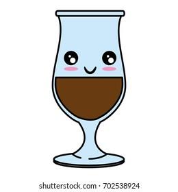 Glass cup isolated kawaii cute cartoon Vector ilustration