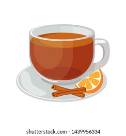 Glass cup with saucer with black tea inside and orange slice, cinnamon sticks vector illustration isolated on white background. Hot black tea vector