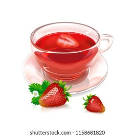 Glass Cup of strawberry tea and strawberry berries on white background. Vector illustration.