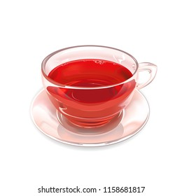 Glass Cup of strawberry tea on white background. Vector illustration.