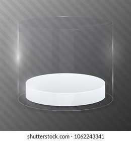 Glass cylinder with white podium. Design template. Vector illustration.