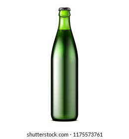 Glass Dark Green Beer, Ale, Cider Bottle. Carbonated Soft Drink. Mock Up Template. Illustration Isolated On White Background. Ready For Your Design. Product Packaging. Vector EPS10