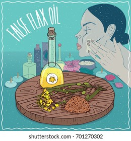 Glass Decanter of False flax oil and Camelina sativa plant. Girl applying facial mask on face. Natural vegetable oil used for skin care. Vector illustration