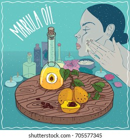 Glass Decanter of Marula oil and fruits of Sclerocarya birrea plant. Girl applying facial mask on face. Natural vegetable oil used for skin care. Vector illustration