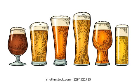 Glass with different types beer - lager, ale, stout. Vintage color vector engraving illustration. Isolated on white background.
