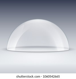 Glass dome container mock-up. Plastic dome model cover for exhibition isolated. Blank vector transparent dome.