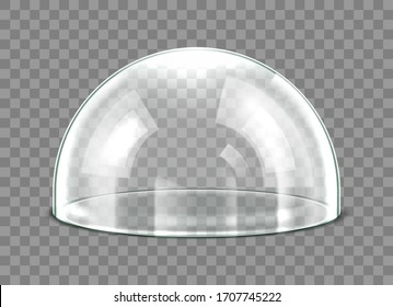 Glass dome isolated on transparent background. Realistic 3d detailed spherical glass dome cover. Vector illustration