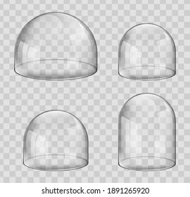 Glass dome isolated on transparent background. Bulged plastic or other glossy material cover. Galley or museum exhibition display protection container.