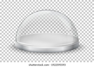 Glass dome on transparent background. Crystal case with round silver tray vector illustration. Empty realistic Christmas container, display or showcase for product presentation.
