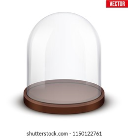 Glass dome. Platform for showing your product or idea. Wide shape. Vector Illustration isolated on white background.