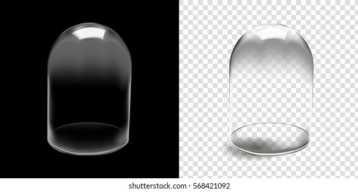 Glass dome vector in black background, Glass dome vector illustration isolated and transparent