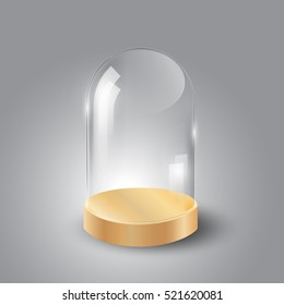 Glass dome and wood tray, transparent vector