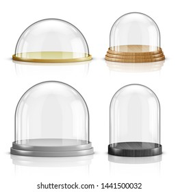 Glass dome and wooden and plastic tray realistic vector. Glass round dome of various shapes with plate, food storage container or product presentation case with reflection isolated on white background