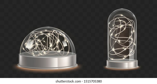 Glass domes with light garland. Christmas decorative souvenir isolated on dark transparent background. Xmas holiday interior decoration, shiny hemisphere snowglobe. Realistic 3d vector illustration