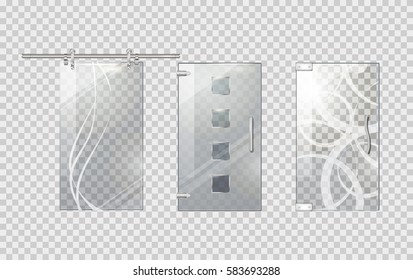 Glass door collection on transparent background. Simple glass door with long handle, with stripes and rounded handle, with flowers and extraordinary door handle. Vector picture of objects for building