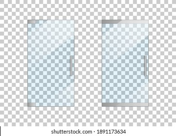 Glass door. Glass entrance in office. Door with handle for store. Doorway of shop in front view. Window of mall. Mockup of clear, closed exterior isolated on transparent background. Vector.
