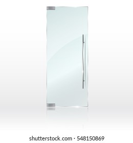 Glass door isolated on grey background. Vector illustration