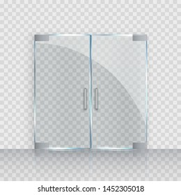 Glass door isolated on transparent background. Mockup entrance double door for store, shop or fashion boutique. Vector clear acrylic frame.