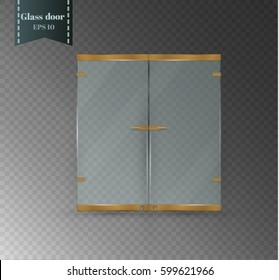 Glass door isolated on transparent background. Vector illustration Glossy office or boutique transparent doors with shaped handle.Gold-tone piping