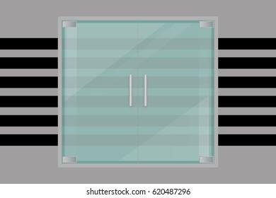 glass door, isolated, vector illustration. For shop, store, mall, transparent boutique door, office building glass door