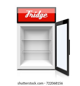 Glass door mini refrigerator, fridge vector illustration