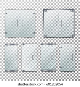 Glass Door Transparent Vector. Front For Office Or Boutique. Clear Showcase Facade. Isolated On Checkered Background